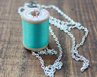 vintage wooden spool, vintage teal spool, vintage teal thread spool, wooden spool necklace, 18 inch necklace, long necklace