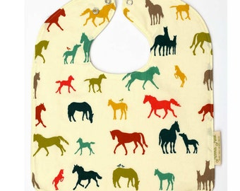 Horse Baby Bib, Gift for Horse Lover, Horse Nursery, Organic Baby Bib, Horse Baby Gift, Gender Neutral Bib, Baby Shower Gifts, Large Bib