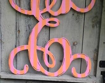 Vintage monogram letter, monogram letter sign, distressed monogram sign, family monogram sign, nursery monogram, monogram door hanger