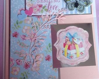 Sending Love Shabby chic Handmade card