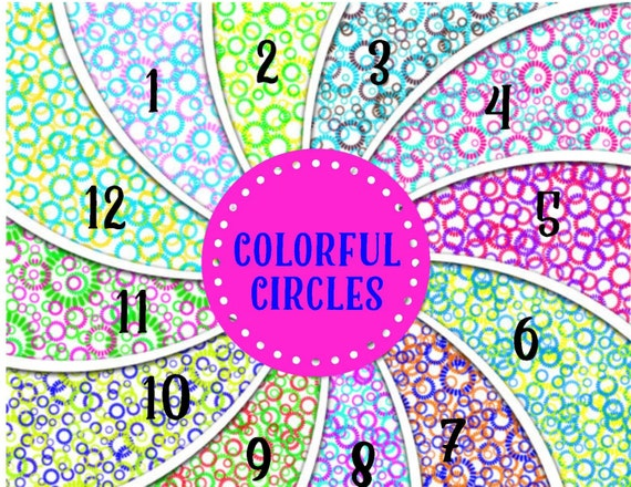 Colorful Circles Adhesive 651 Vinyl, HTV or Glitter HTV. Choice of 3 sizes. 6x6, 6x12 or 12x12. Decals HTV. Abstract
