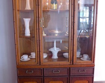 """SALE! Org 495.00 Retro Faux Bamboo China Cabinet/ Hutch Marked""""Broyhill"""" 78""""H X42""""WX15""""D"""