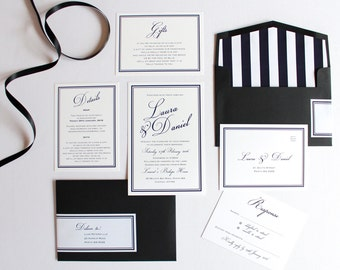 Black & White Formal Classic Elegant Printed Wedding Invitation Set