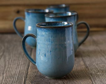 Blue Ceramic Mugs / 10oz Mugs / Set of 4 Mugs or 6 Mugs / Stoneware Mugs / Rustic Pottery / Pottery Dishes / Blue Pottery / New Home Gift