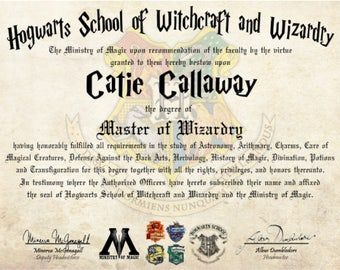 Masters degree etsy for Hogwarts certificate template