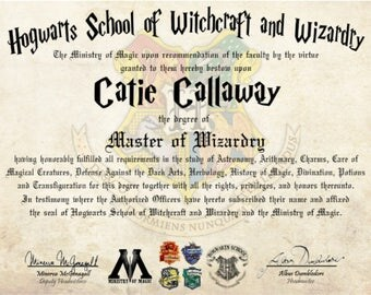 Hogwarts Diploma Custom Personalized Master of Wizardry Harry Potter Degree