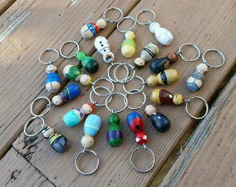Peggie Keychain / Backpack Buddy / Pendant / Charm / Ornament - Miniature Peg Doll on a Ring