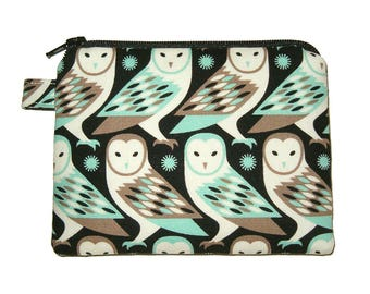 Barn Owl Coin Purse - Padded Pouch - Owl Purse - Owl Zippered Pouch - Bird Purse - Owl Bag