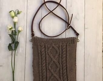 Knitted bag, crossbody messenger bag, soft wool blend aran pattern cross body messenger bag, ipad bag