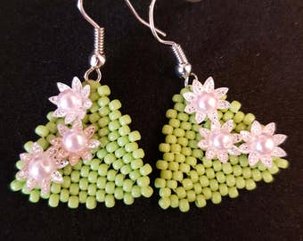 Spring beaded triangle earrings