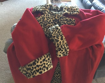 Red and leopard print reversible wool coat