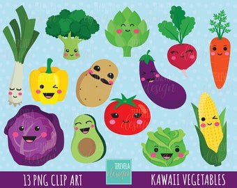 kawaii VEGETABLES clipart, cute vegetables clipart, veggie clipart, cute graphics, commercial use, kawaii clipart, cute veggie