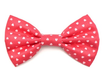 The Cranberry Bow Tie — Dog Bowtie, Pink, Red, Hearts, Heart, Valentine's Day, Brooklyn Bowtied, Girly Love Hearts