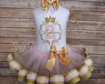 Princess Birthday Outfit ~ Elegant Princess Tutu Outfit ~ Includes Top, Ribbon Tutu & Hair Bow ~ Customize in any colors!!