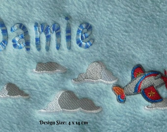 Embroidered Personalised Fleece Baby Blanket - Flying Plane Design (358)
