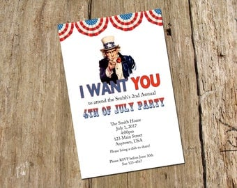 4th of July Party Invitation, DIY printable digital file