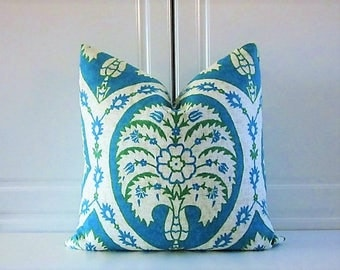 Pillow Cover-Turquoise & Emerald Green Medallion-18x18