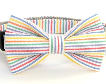Colorful Seersucker Dog Collar Bow Tie set, pet bow tie, collar bow tie, wedding bow tie