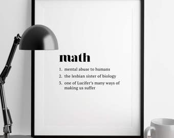 Math Definition // Funny Definition // Printable Decor // Office + Home Decor Art