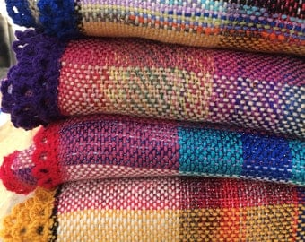 Handwoven Baby Blanket. Bright Crayon Colours. For Boy or Girl.
