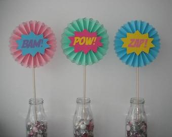 bam pow zap girl superhero table centerpiece stick fan decoration decor birthday baby shower party doily pinwheel paper rosette super hero