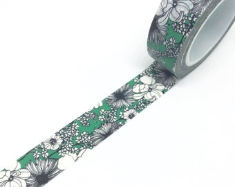 Black and White Flowers on Green Washi Tape 15mm x 10m