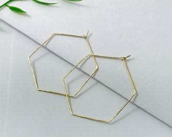 Hammered hexagon hoop earring ( 14 k gold fill/brass)