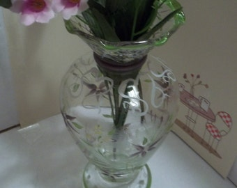Tracy Porter Hand Painted Glass Bud Vase