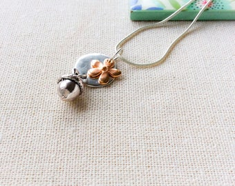 Acorn necklace, long pendant necklace, layering necklace, everyday necklaces, gift for her, flower jewellery,  rose gold, silver necklace,
