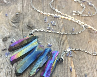 Rainbow Titanium Crystal Necklace Aura Quartz Necklace Girlfriend Gift for Her Raw Crystal Healing Crystals and Stones Crystal Pendant