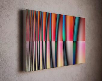 Red art, wavy stripes with horizontal section - abstract modern art. modern wall decor, modern art print, modern decor, wall art, wall decor