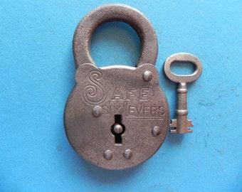 "Antique ""SAFE Six Levers"" Padlock W/ Key."