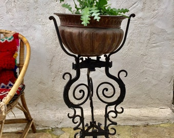 Console door plant tripod support plants green deco brass black wrought iron copper 1920
