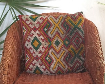 Cushions Berber woven hand former yellow green red black