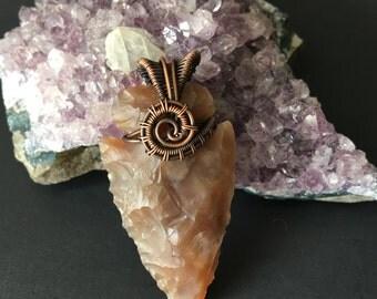Jasper arrowhead pendant in oxidized copper-Ooak Wire Wrapped pendant- Women Jewelry-Warrior Amulets- Wire Wrapping