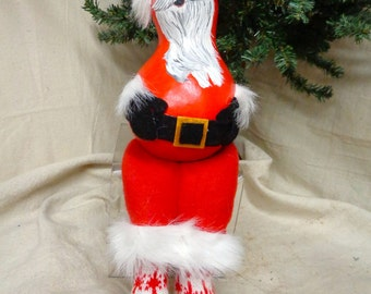Hand crafted and hand painted shelf sitting Santa gourd by Debbie Easley