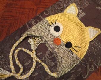 Handmade, Crochet Cat Hat, Crochet Hat for Kids, Winter Cat Hat