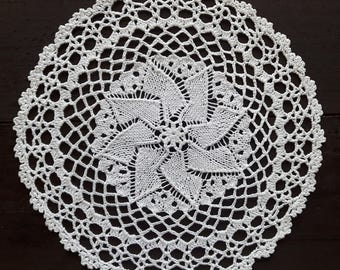 Vintage off white handmade knitted round doily