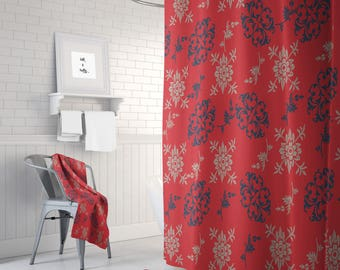 country red floral shower curtain optional bath mat bath towels