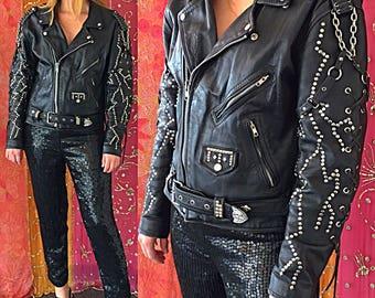 La Roxx Jacket Biker Jacket Studded Leather Jacket Motorcycle Jacket Punk Chained Rock N Roll Biker Jacket