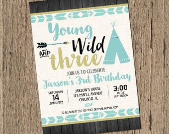 Young wild and three birthday Invitation BOY, tribal birthday invitation, third birthday invitation, 3rd birthday aztec Printable Invitation