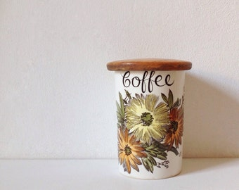 Vintage coffee jar, Crown Devon Fieldings coffee container with wooden lid and floral print