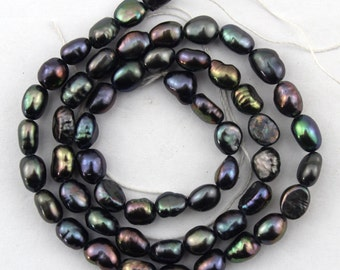 20%OFF 5-6mm Natural Baroque pearl beads  Freshwater Pearl beads Black Color 49pcs--15inch--Full Strand Item No-FS75