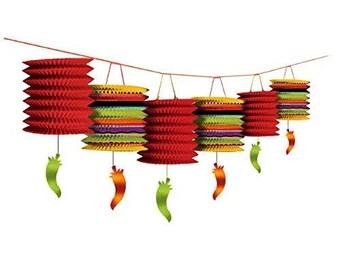 12 Foot Long Colorful Chili Pepper Paper Lantern Garland - Candy Buffet Backdrop  Beautiful Fun Fiesta Party Decorations - Cinco de Mayo!