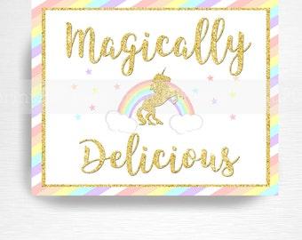 Your unicorn name unicorn party sign pastel rainbow unicorn for Food bar rainbow moon