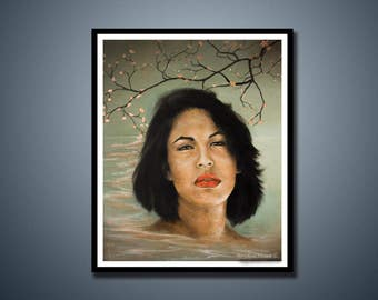 Selena Quintanilla, Art Print, Portrait Art, Tejano Music, Pop Music, Surrealism, American Icon, Jazz, RnB Art, Latino Art