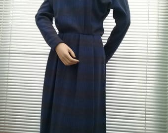 1950s, mid century blue abstract pattern, sheath dress, with turtle neck.