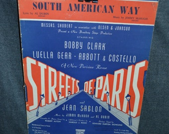 "Vintage 1939 ""South American Way"" Music and Song Book by Al Dubin from Streets of Paris"