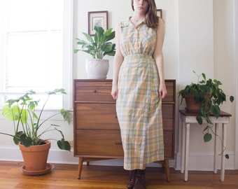 Vintage Plaid Two Piece Dress