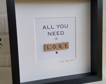 All you need is love framed Scrabble Art Print